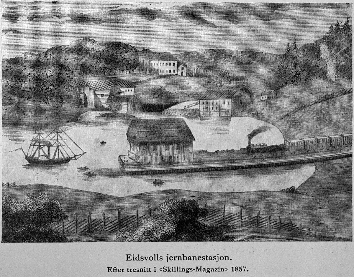 """Avbildet tresnitt. Eidsvoll jernbanestasjon i 1857. Efter tresnitt i """"Skillings-Magazin"""" 1857."""