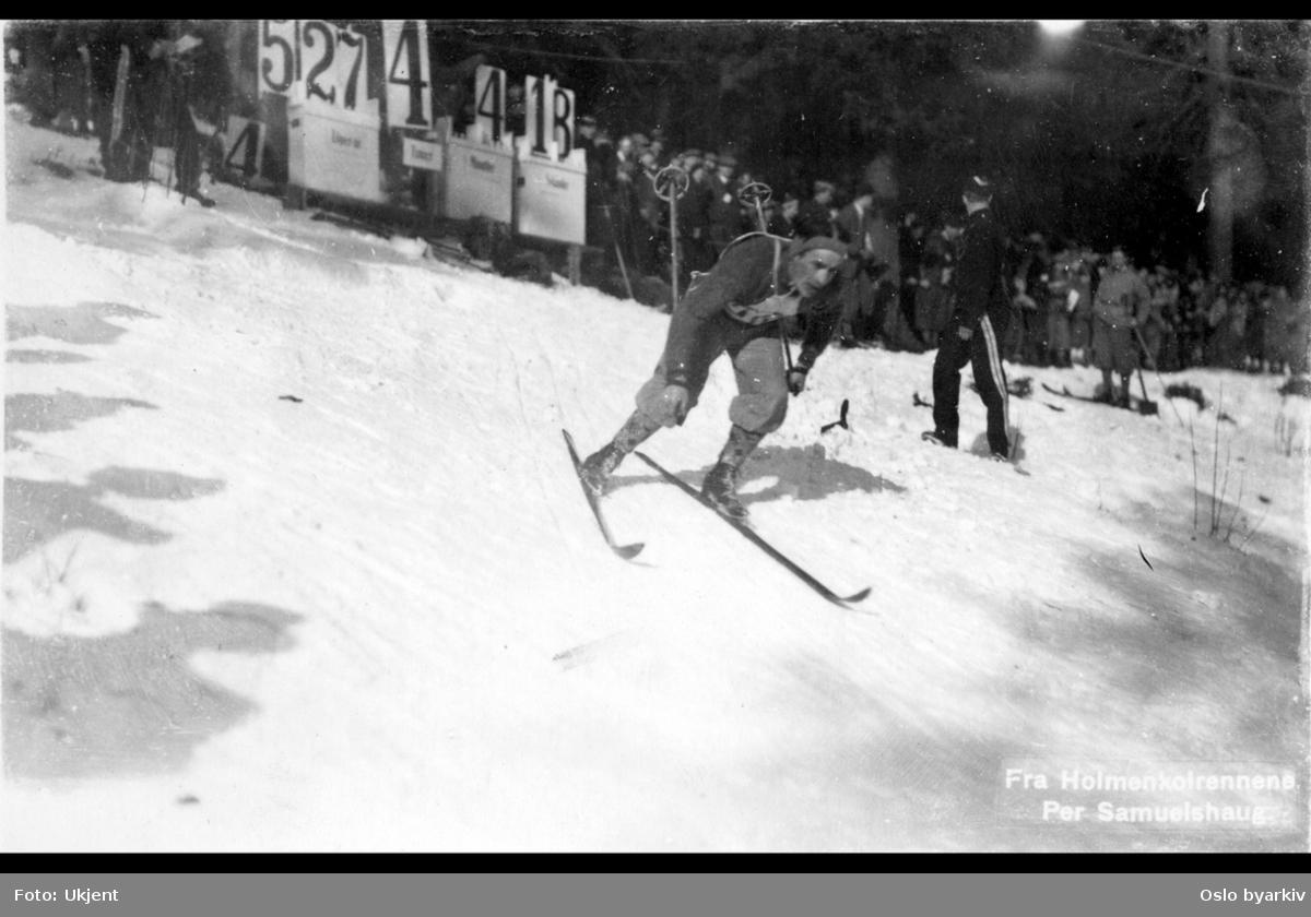 Skiløper, publikum langs løypa, Holmenkollrennene, vinter