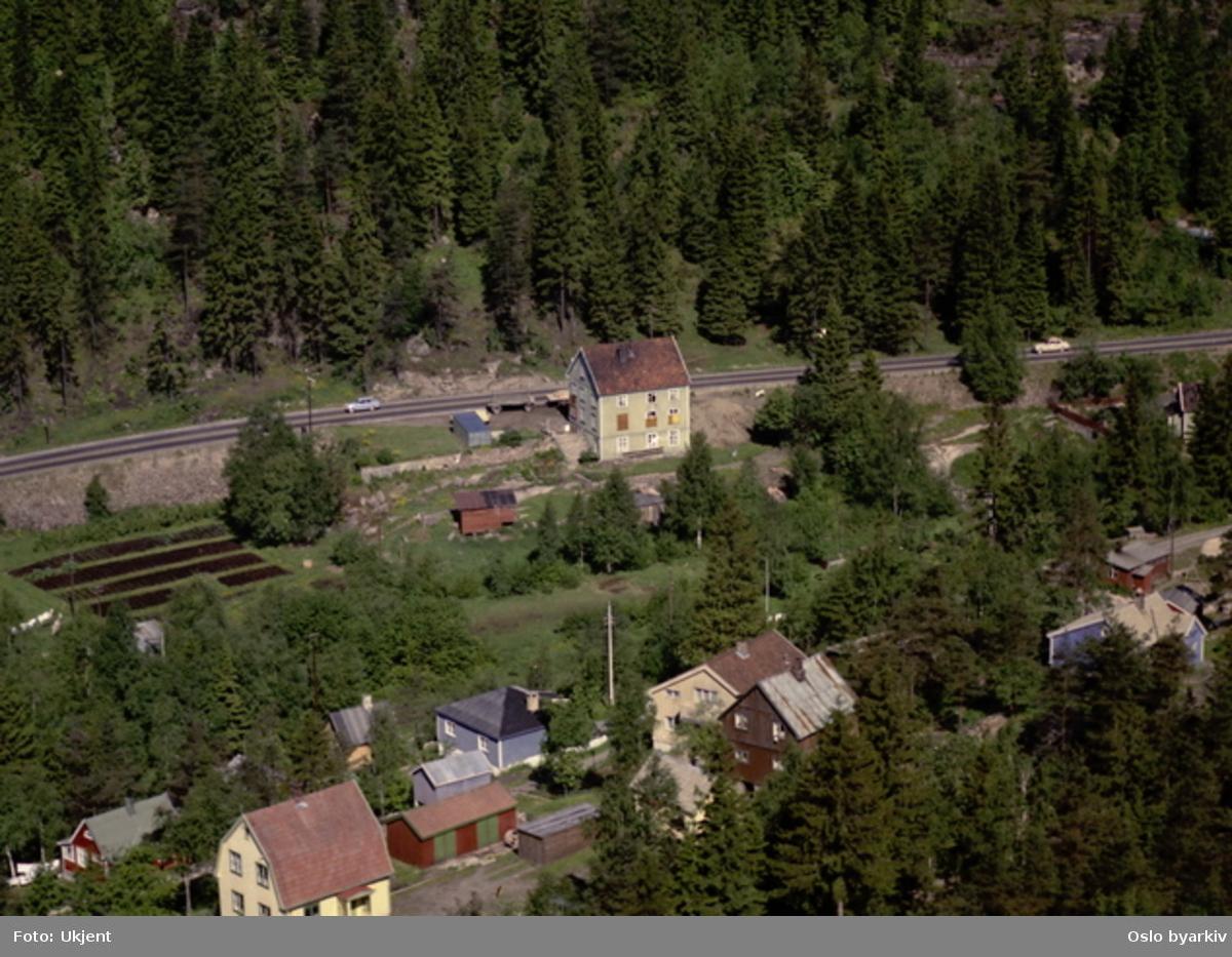 Trondheimsveien ved Gjelleråsen. (Flyfoto)