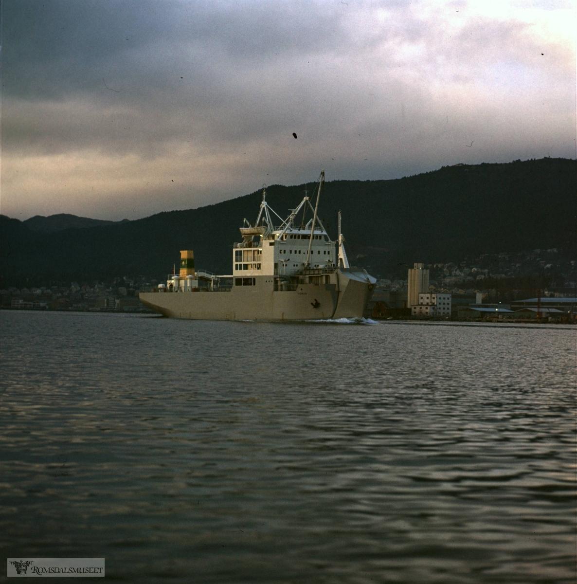"""M/S Norad"" bygd ved Bolsønes verft..Esra Olsen, var kaptein på denne båten i Dar es Salaam da den gikk i rute mellom Dar es salaam, Lindi, Mtwara og Zanzibar i fra 1977 til 1980."