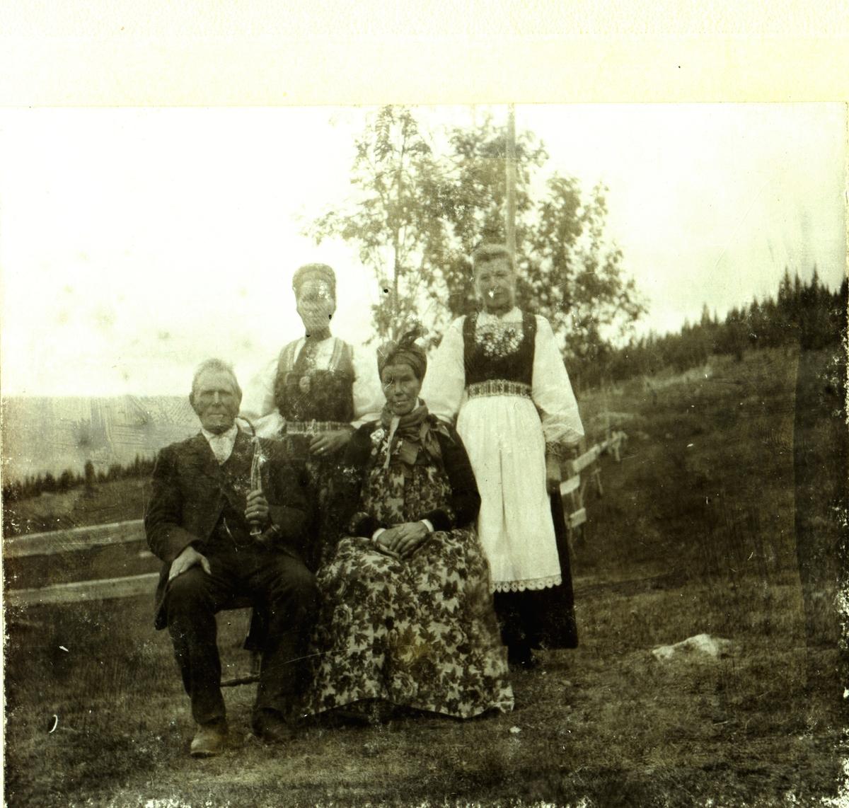 Familiebilde frå Mykleset. Framme sit Ola Mykleset og Ragnhild Blakkestad Mykleset. Bak frå v.Ingebjørg og Sissel Mykleset.