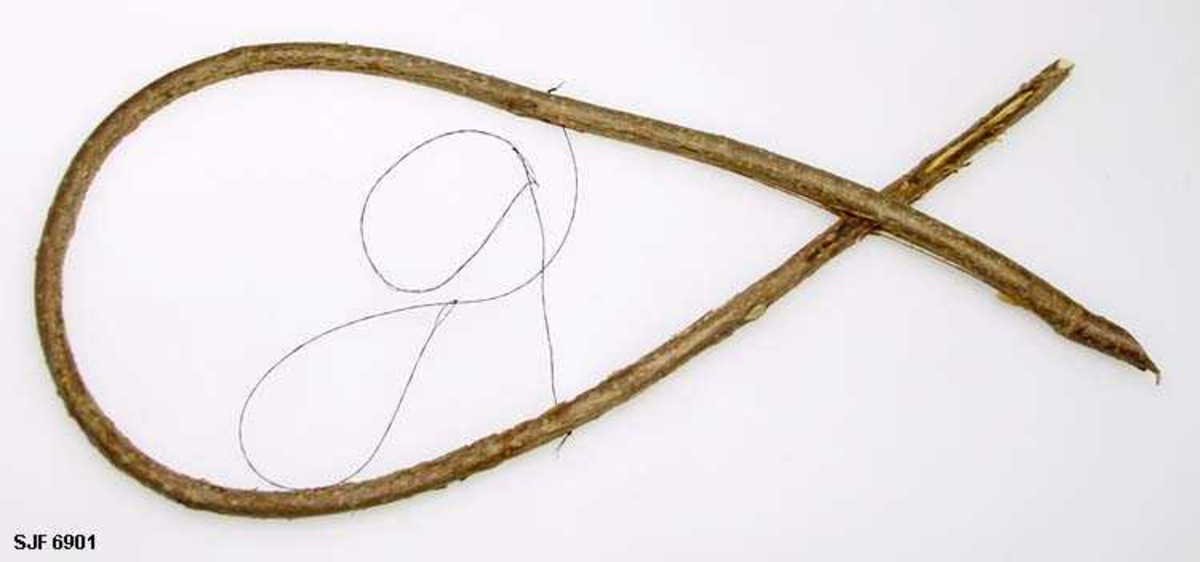Form: Oval Duna er ei felle opphengt i et tre for trostefangst.  Fella måtte tres inn på ei grein og måtte plasseres slik at en kvist stengte på utsida.  Som lokkemiddel ble det gjerne brukt rogne- bær. Duna har to hestetaggelsnarer festet gjennom en sprekk på hver side av seljegreina. Snarene måtte sitte høyt oppe i buen for at trosten skulle få de omkring hodet i det den fløy fra greina. Trosten ble brukt som mat. Denne duna er ny, men de som ble brukt til slik fangst så likedan ut.