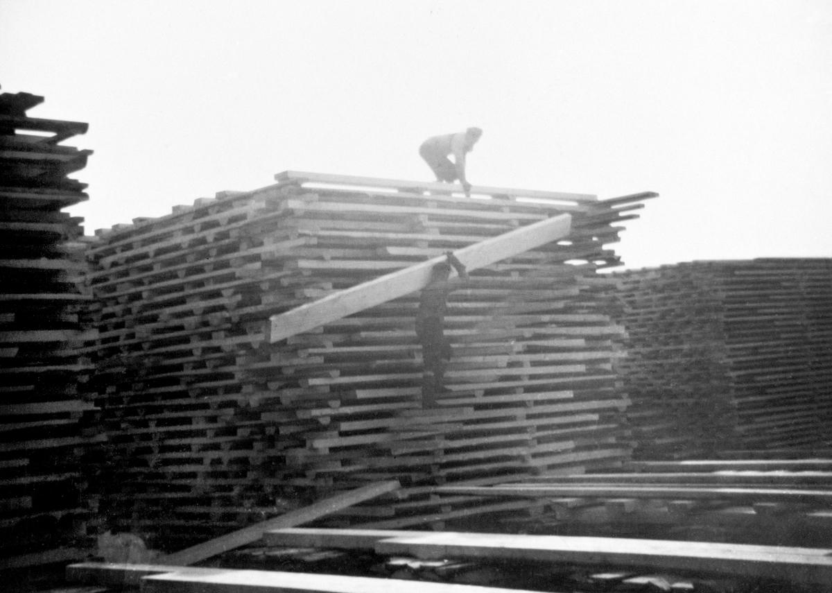 Plankebærere og plankestablere på Langmosaga. Berger Langmoen AS, Brumunddal.. Industri.
