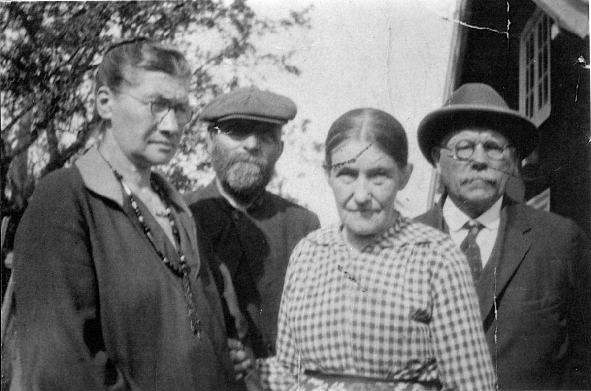 Besøkende skyldfolk fra Amerika i Kusvea, Rudshøgda, Ringsaker. I midten er Johannes Johnsen Lilleberg f.1861 og Ambjørg Evensdatter f. 1862.