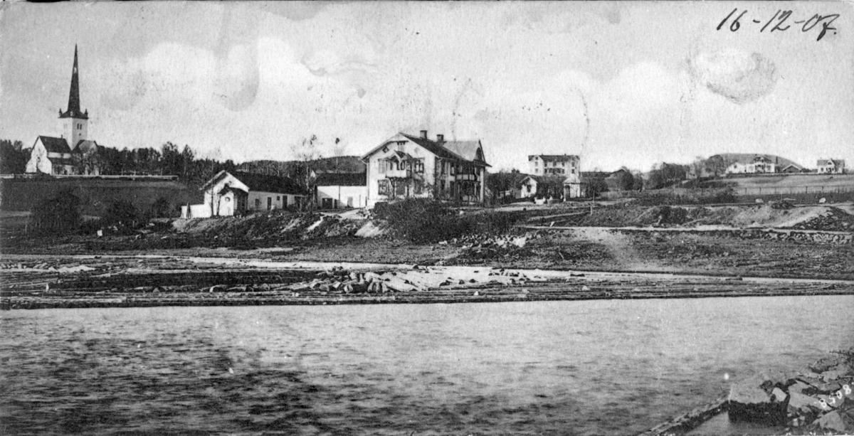 Postkort Ringsaker, Ringsaker kirke, Ringstrand, Tingvang. 1905-1907