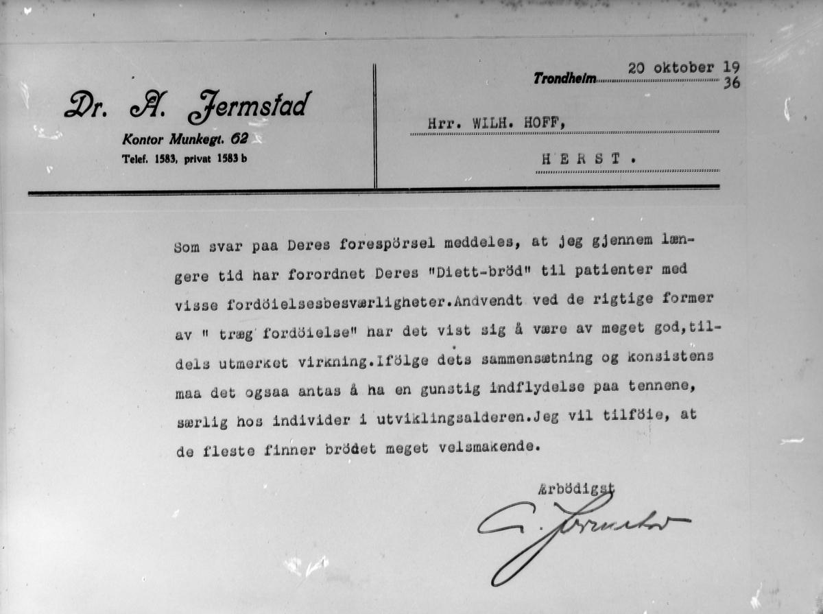 "Brev til baker Wilh. Hoff fra dr. A. Jermstad ang. Hoffs ""Diett-brød"""