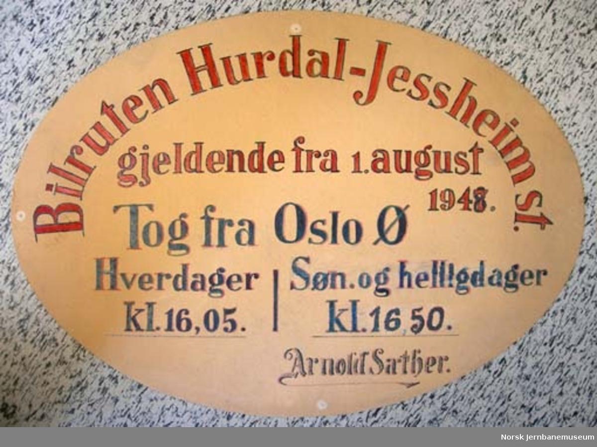 """Oppslag : """"Bilruten Hurdal-Jessheim st."""""""