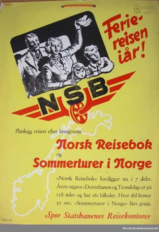 """Plakat : """"Feriereisen i år"""""""