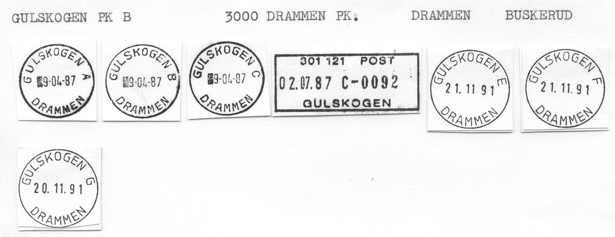 Stempelkatalog Gulskogen, Drammen, Buskerud
