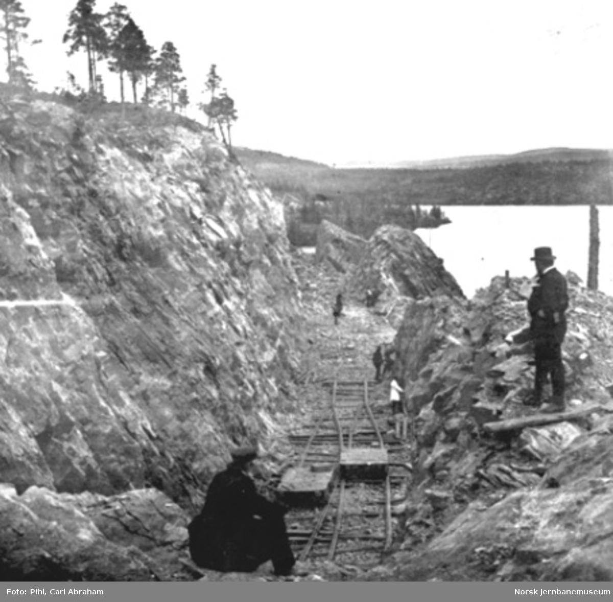 Fra anlegget av Kongsvingerbanen ved Sandnesberget