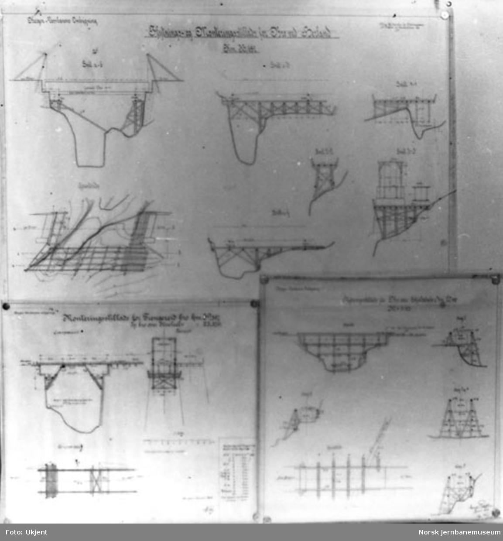 Tegninger av stillas for flytting og ombygging av bruer på Vossebanen