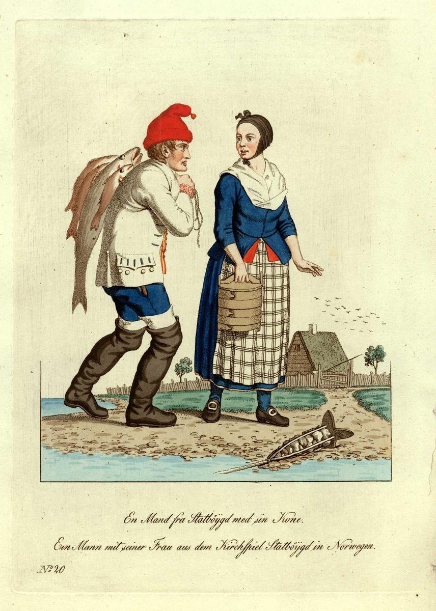 Mann og kone i folkedrakter fra Stadsbygd, Rissa, Sør-Trøndelag, han bærer fisk på ryggen, hun har ei  sveipet tine i hånden. Et søkke(?) ligger på bakken.
