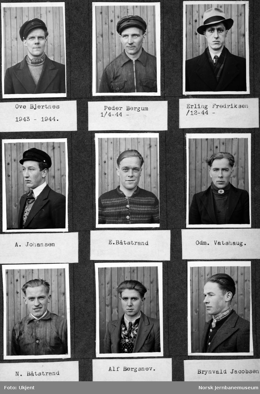 Personalbilder fra Mo i Rana stasjon : lokomotivpusserne Bjertnes, Bergum, Fredriksen, Johansen, E. Båtstrand, Vatshaug, N. Båtstrand, Bergsnev og Jacobsen