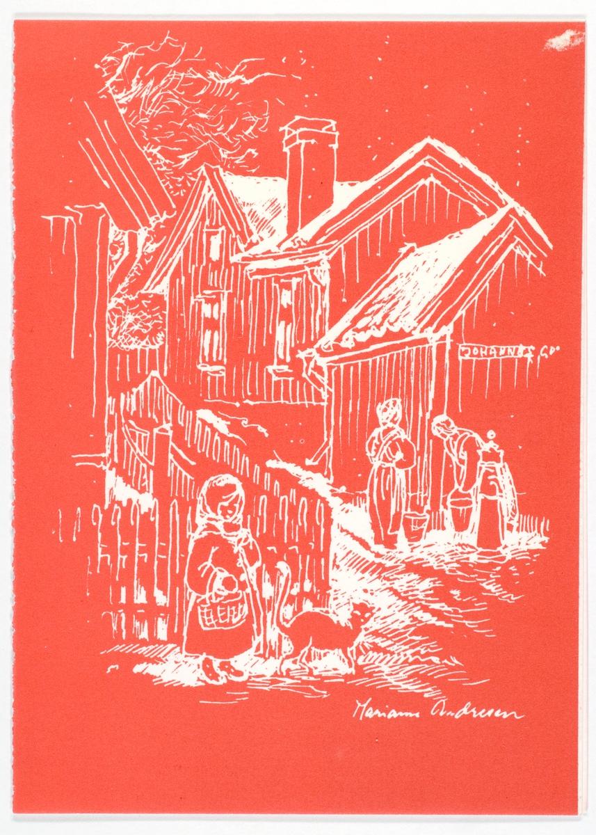 Fra Enerhaugen, kvinner ved vannpumpe, småpike og katt i forgrunnen.