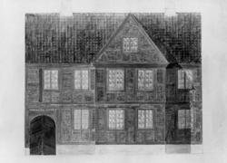 Tollbugata 14, Oslo. Nå på Norsk Folkemuseum. Avfotografert tegning av huset, forslag til oppsetning på NF. Fasadetegning av frk. Dieta Haslund.