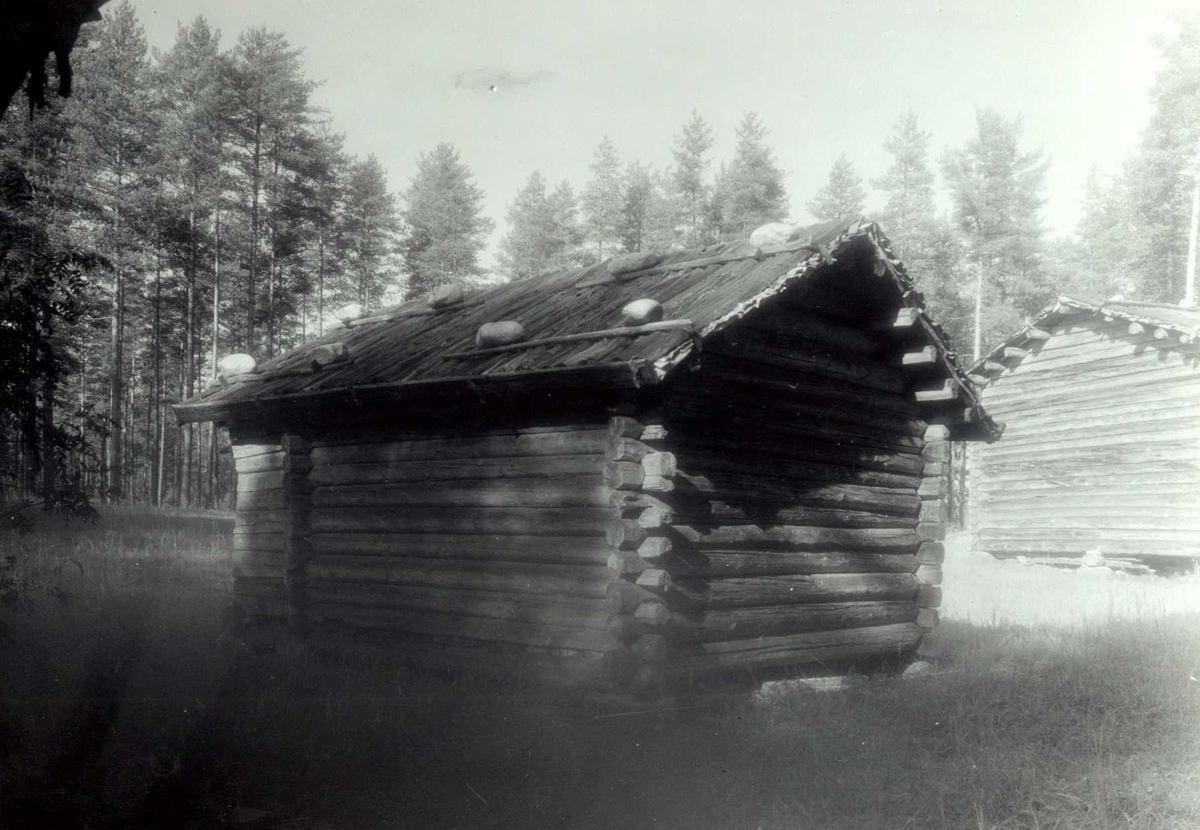 Rundhaugen, Grue, Hedmark. Bu med stein på taket, sett fra baksiden. Nå på Glomdalsmuseet, Finntorpet.