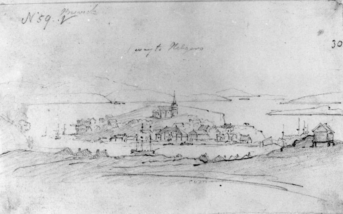 """BrevikFra skissealbum av John W. Edy, """"Drawings Norway 1800""""."""