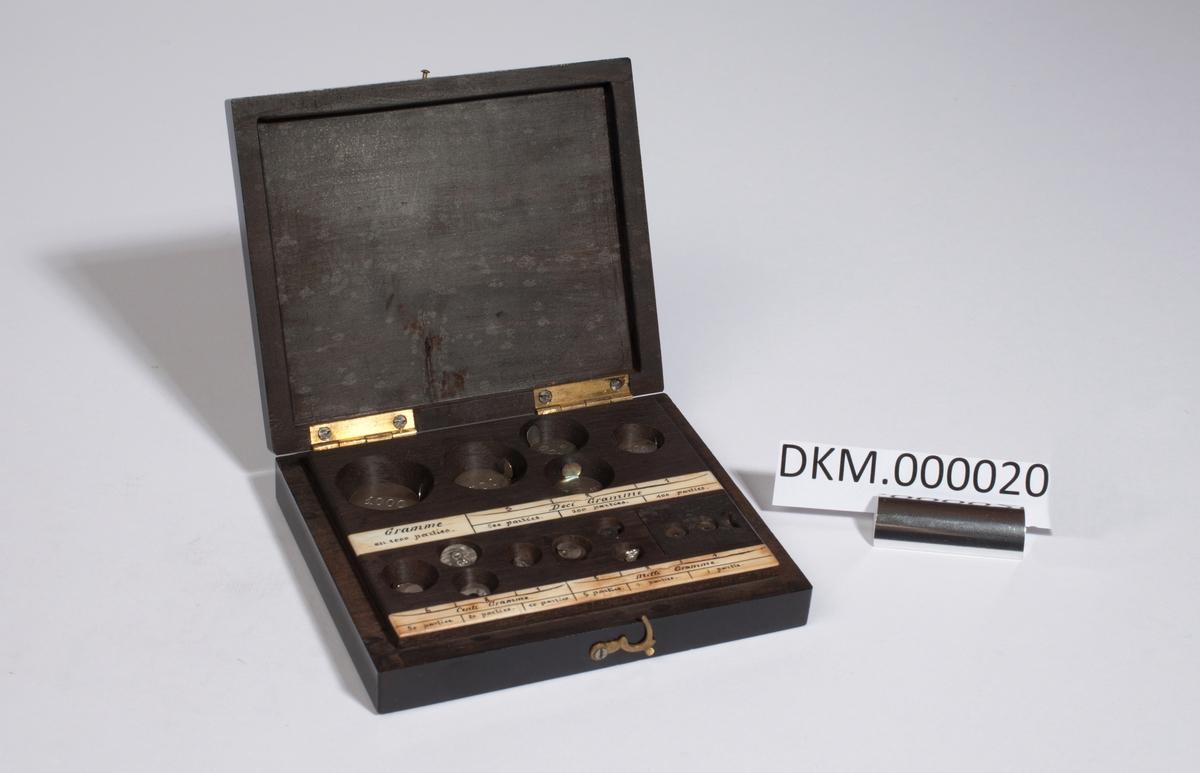 Rektangulær kasse med lokk som er festet med to hengsler, inneholder 12 lodd. Settet mangler ett lodd på 2 mg og ett lodd på 1 mg.
