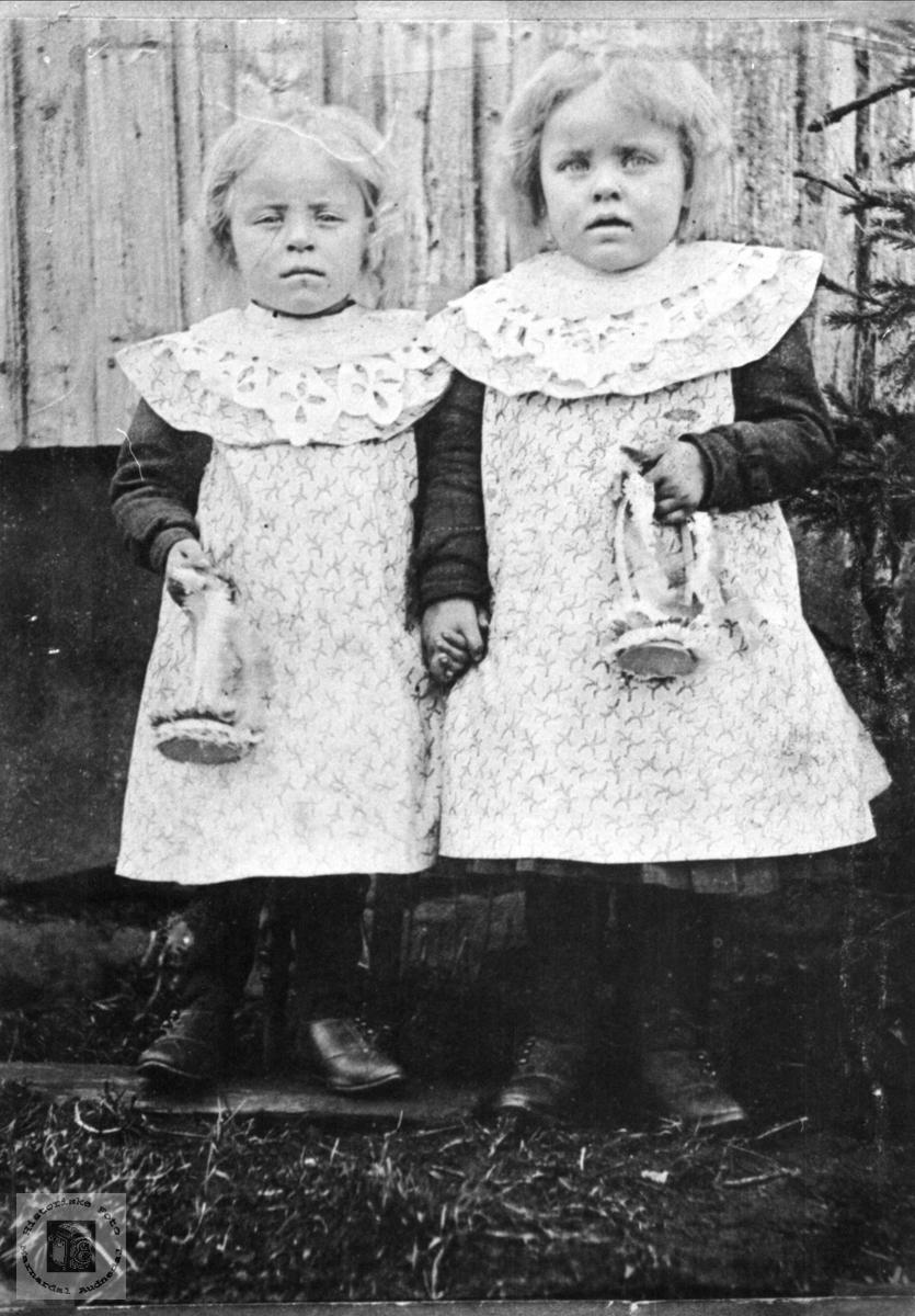 Tvillingsøstrene Asgjerd og Astrid Haugland, Bjelland.