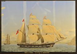 Freya af Tjömö fört av Capt. H. Rasmussen [Akvarell]