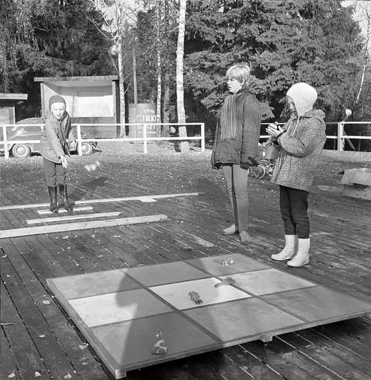 Barn spelar spel under Korpens familjerally.