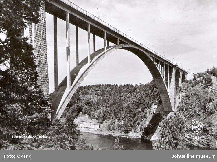 """Tryckt text på kortet: """"Svinesundsbron. Bohuslän"""".  ::"""
