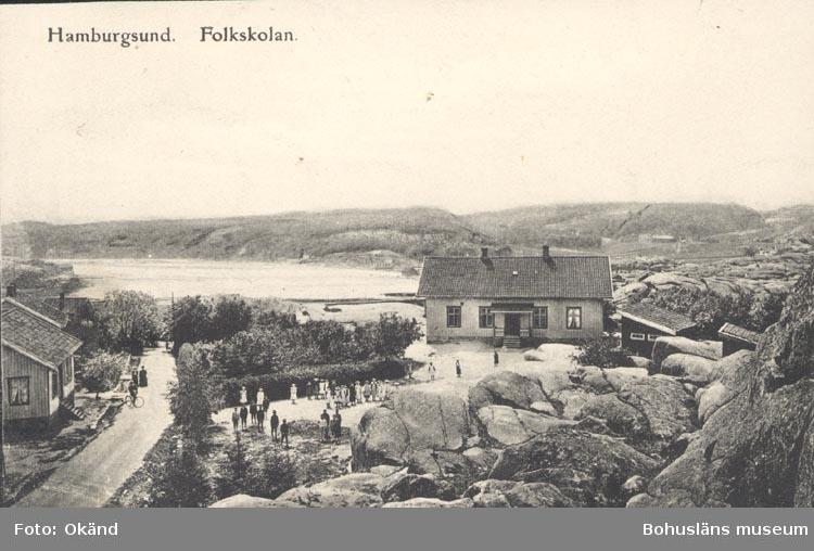 """Tryckt text på kortet: """"Hamburgsund Folkskolan"""". """"Carl E. Johansson, Pappersh. & Förlag""""."""