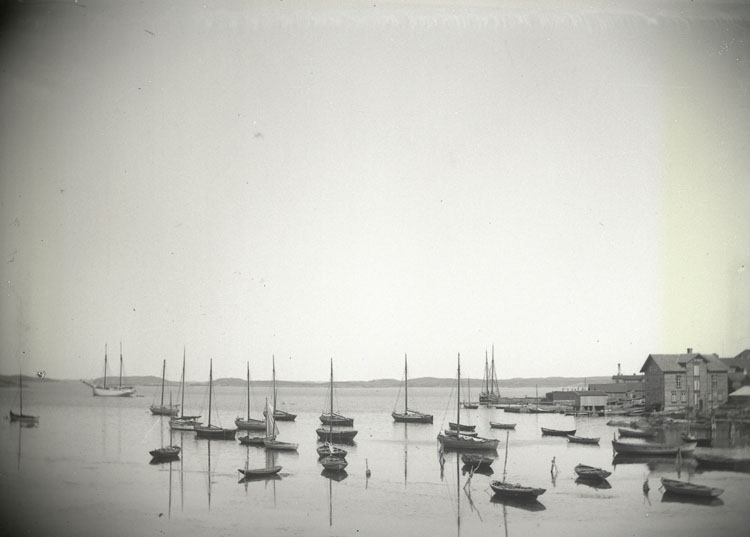 """Enligt text som medföljde bilden: """"Lysekil. Gamla hamnen, taget i närheten av Roddklubbens hus. 27/8 99""""."""