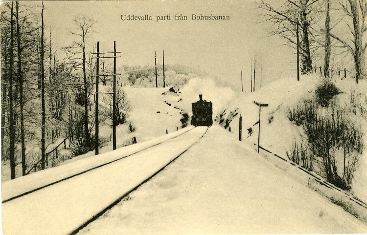"""Tryckt text på vykortets framsida: """"Uddevalla Parti från Bohusbanan."""""""