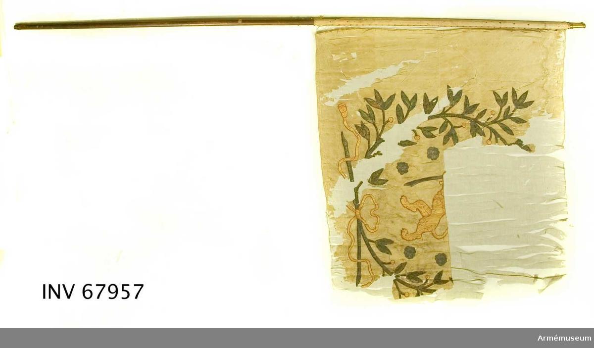 Duk: Tillverkad av enkel, ursprungligen röd, taft. Sydd av två våder. Duken fäst vid stången med en rad tennlikor på ett ursprungligen rött numera beigefärgat band.  Dekor: Målat, på båda sidor Storfinlands sköldemärke, krönt, dubbelsvansat lejon, förande i vänster, järnklädda tass ett upplyft svärd, i höger tass en nedåtriktad sabel - åtföljt av rosor i silver.  Det hela omgives av en krans bildad av två sammanbundna lagerkvistar i silver med bär i guld. Lagerkvistarna nertill sammanbundna med rosett med fladdrande, tofsprydda band.  Stång av furu, svartmålad (enligt R.Cederström röd; enligt Lenk brun). Holk av förgylld mässing.  Märkning: ÖLC inbränt på fyra ställen på stången (antagligen: Överstelöjtnantens compani). V inskuret nära holken.