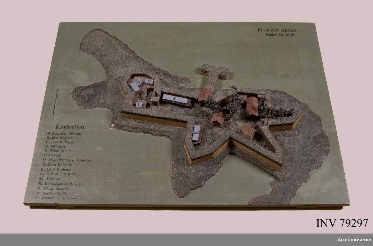 Grupp: L.  Tillverkad år: 1830. Fredriksskans omkring år 1830. Reparerad 1889.