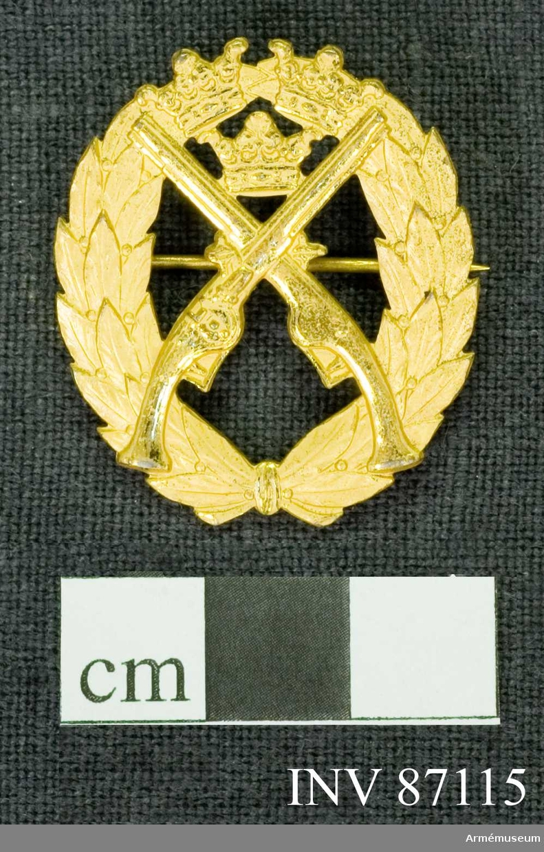 Grupp M.  På en sluten lagerkrans äro placerade 2 korslagda pistoler och mellan deras pipor Sveriges tre kronor.  Material: Förgyllt silver.