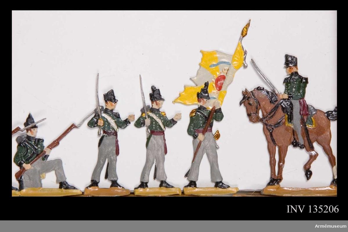Föreställer infanteri - möjligen jägare - i eldgivning.