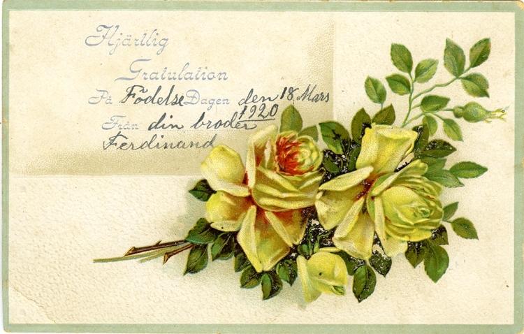 Notering på kortet: Hjärtlig Gratulation. På Födelsedagen den 18 Mars 1920. Från din broder Ferdinand.