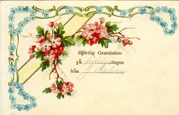 Notering på kortet: Hjärtlig Gratulation på födelsedagen från J Karlsson.
