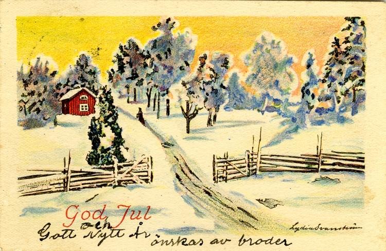 """Kort: """"God Jul"""". Vinterlandskap"""