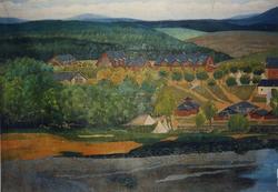 """Enligt Bengt Lundins noteringar: """"Lägerplatsen från norr. Må"""