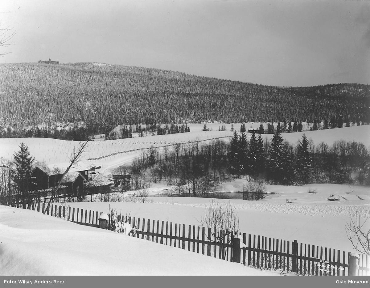 kulturlandskap, sagbruk, Bogstadsaga, elv, skog, ås, Voksenkollen sanatorium, snø, vinterstemning