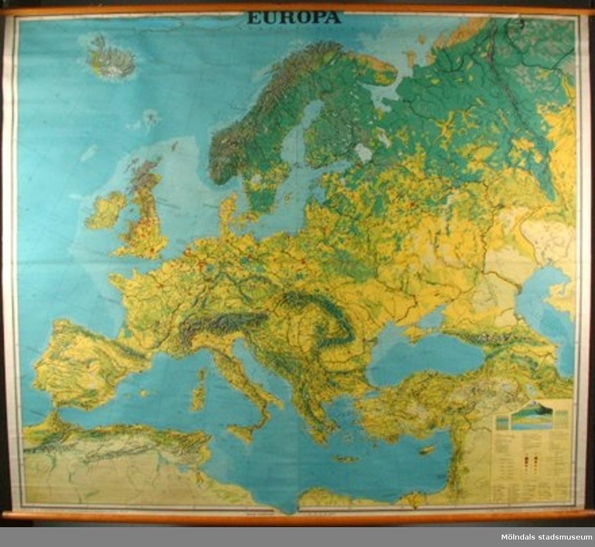 Karta över Europa. Till undervisning i geografi.
