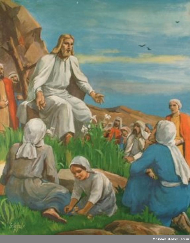 Kristendomskunskap.Jesus predikar.  (Matt. 6:26-34).Tryckt 1948 av Victor Pettersons bokbinderi AB, Stockholm.