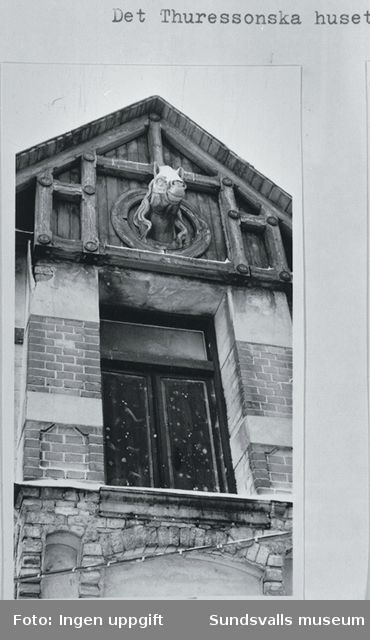 Extriör detalj på stallbyggnad med skulpterade hästhuvuden (tillhörande Thuressonska huset) nu bortrivet.