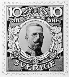 Frimärksförlaga till frimärket Gustav V i medaljong, utgivet 1910. Nr 6.  Valör 10 öre.