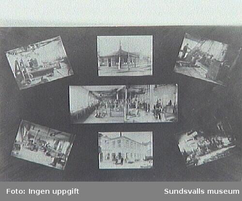 Bildkollage från Andersson & Widmark mekaniska verkstad på innergården till Nybrogatan 29.