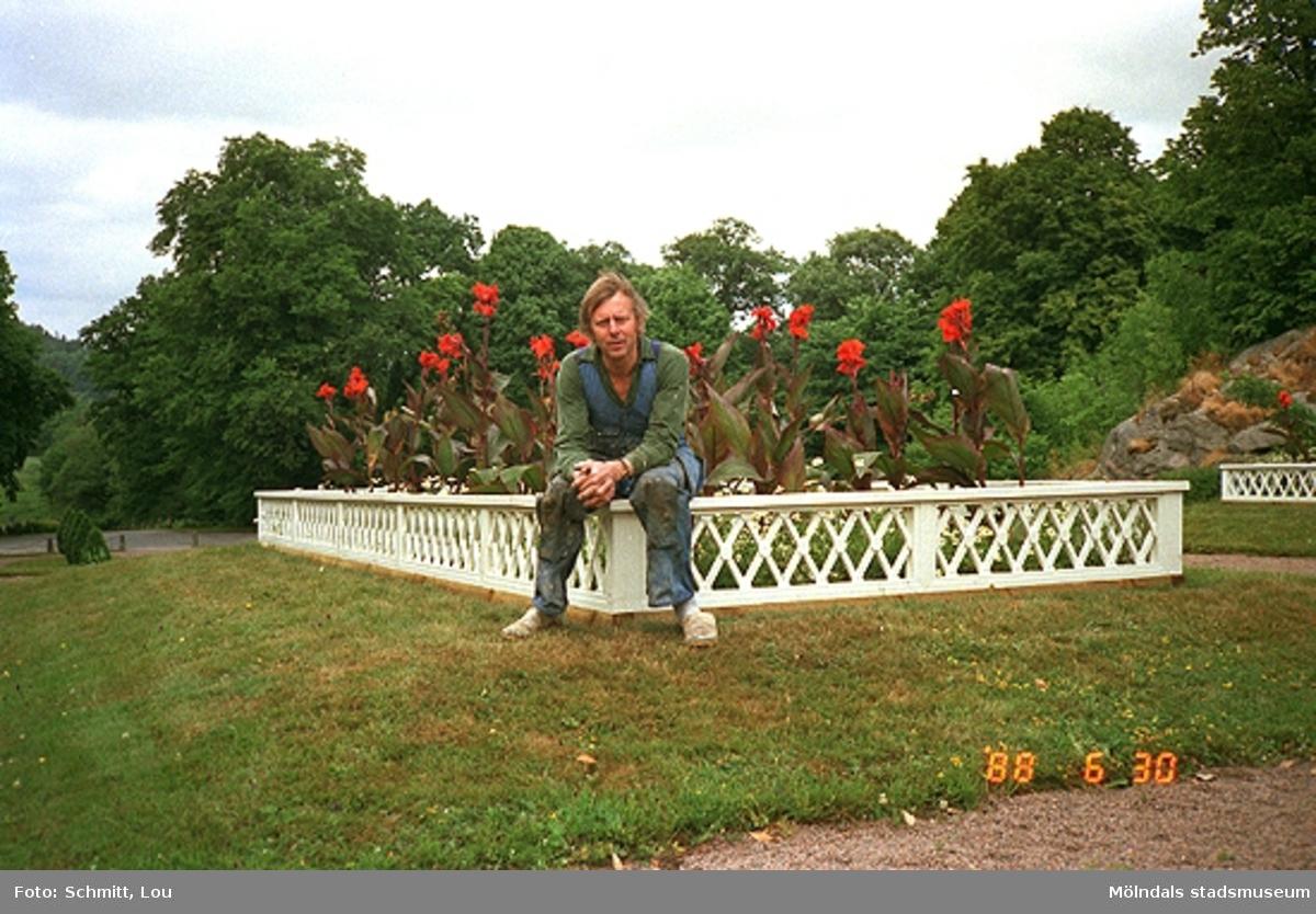En man tittar mot fotografen i Gunnebo slottspark. Han sitter på ett vitt, lågt staket vid en blomsterrabatt. I bakgrunden ser man flera träd.