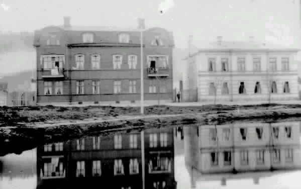 Bostadshus vid Bünsowska tjärn. Norra Tjärngatan, Vykort poststämplat 1914.