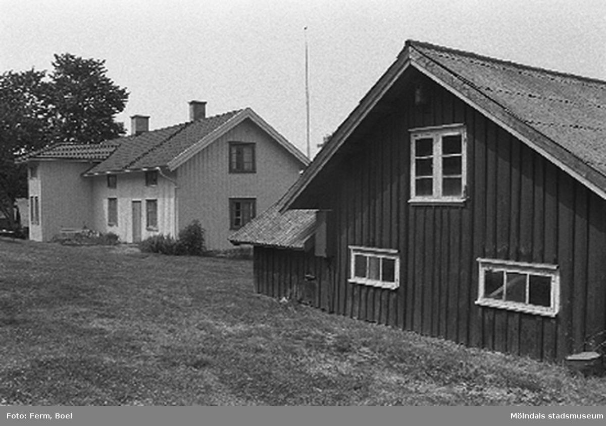 Bostadshuset och ladugården.Hembygdsgården/Börjesgården i Hällesåker, Lindome 1992-06-29.