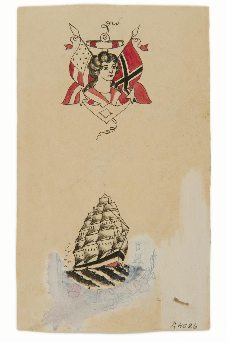Tatueringsförlaga. Två olika motiv. 1. Kvinnoporträtt med ankare i bakgrunden. Till vänster en amerikansk och till höger en norsk flagga. 2. Ett seglande skepp. Delvis utsuddat, till höger ett fyrtorn och underst en blomgirland.