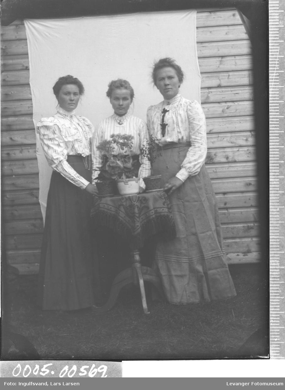 Portrett av tre kvinner i helfigur.