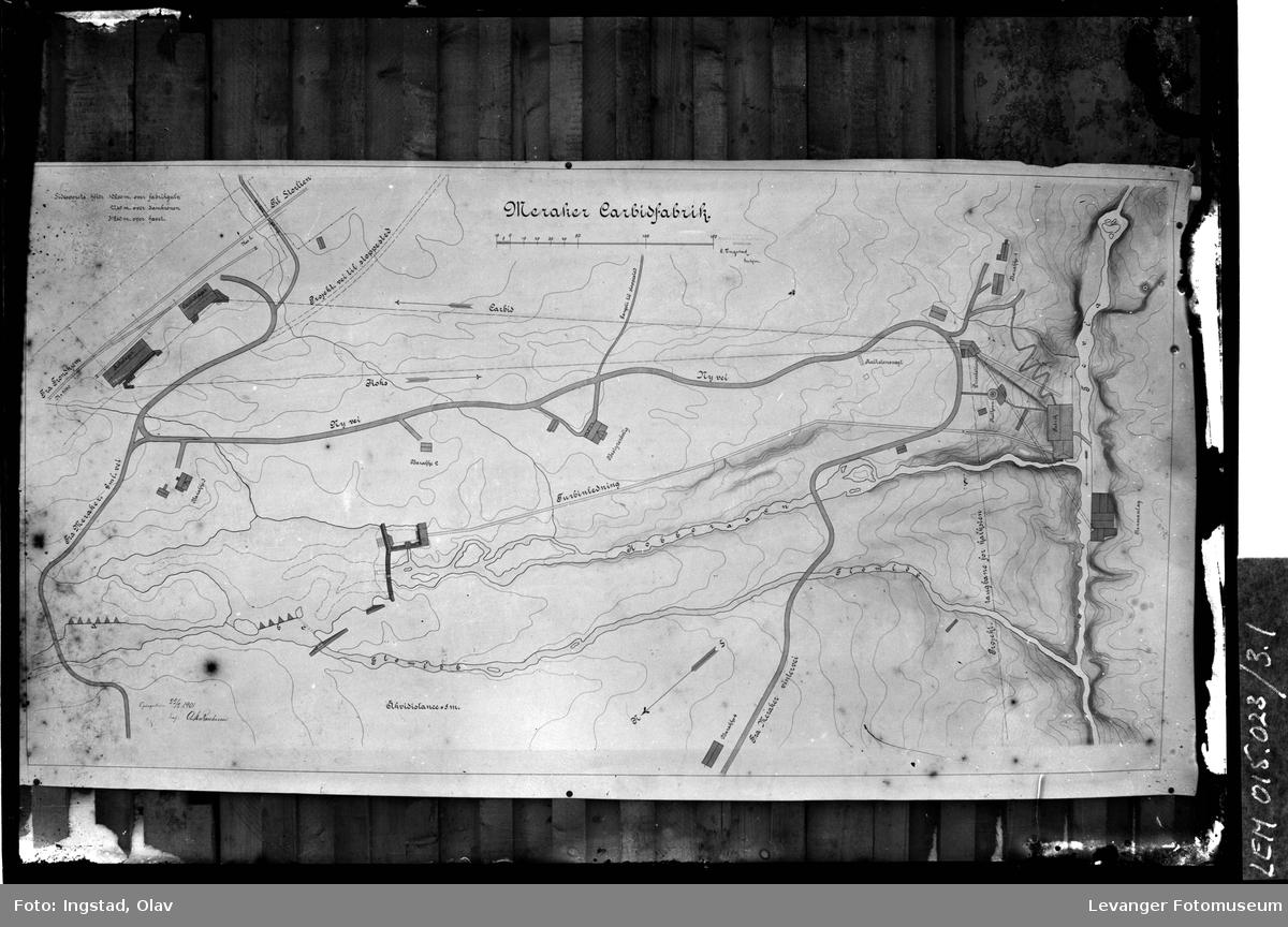 Kartskisse over Meraker Carbidfabrik i Kopperå