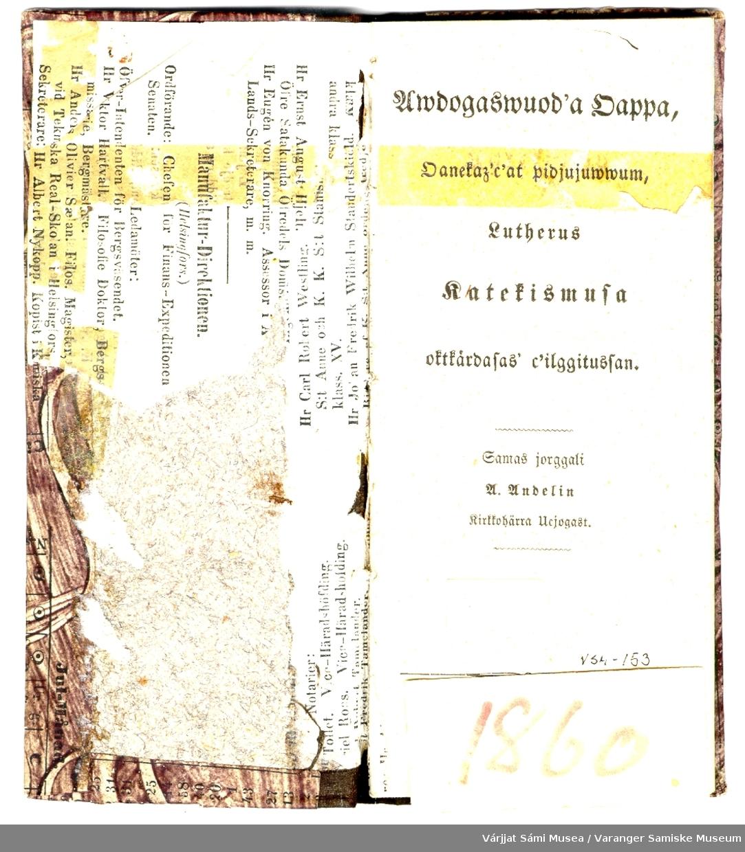 Luhterus katekismusa fra 1860. Oversatt til samisk av U. Undelin. Utgitt i Utsjok.